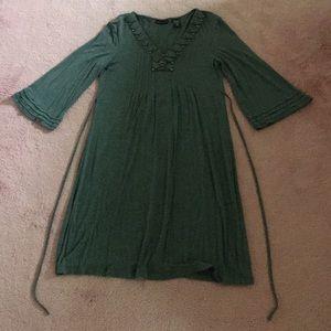 3/4 bell sleeve grey dress
